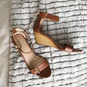 Merona leather wedge sandals